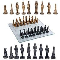 Egyptian Deities Pharaoh King Tut & Nefertiti Resin Chess Pieces With Glass Board Set