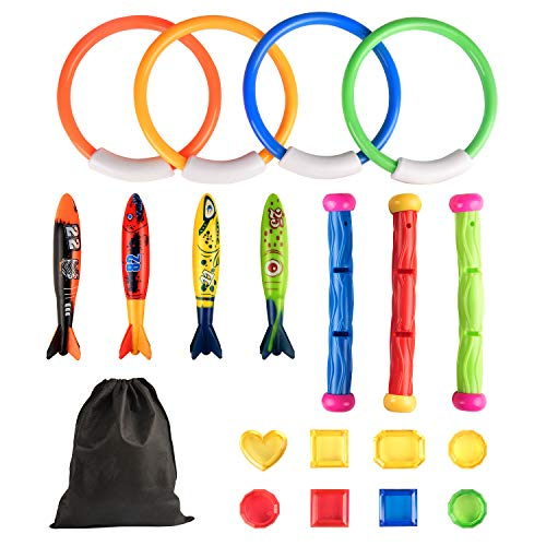 (Kupton Diving Pool Toys Underwater Sinking Toy Set Includes Rings(4 Pcs), Torpedo Bandits(4 Pcs), Diving Sticks(3 Pcs), Under Water Treasures (8pcs) with Storage Bag, Summer Swimming Gift for Kids)