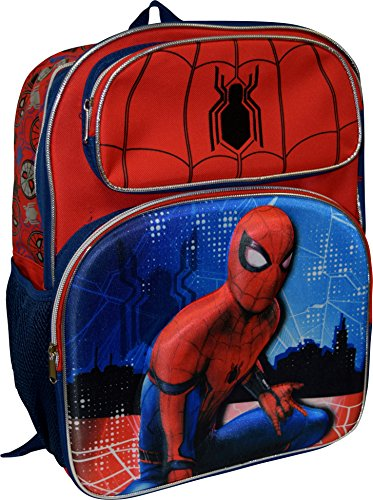 "Marvel Spiderman Home Coming Deluxe 16"" School Backpack With 3D Pop-Up Artwork"