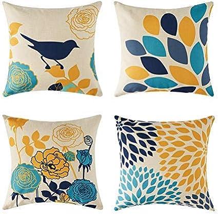 topfinel 4 pcs housse de coussin 45x45 cm decor salon chambre housse coussin de canape en coton lin imprimes de plante de couleru jaune gris bleu