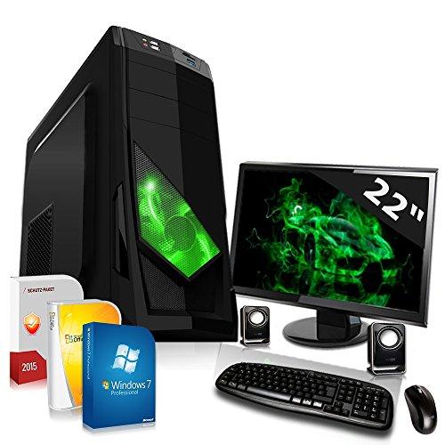 Komplett PC Set Office / Multimedia mit 3 Jahren Garantie inkl. Windows 7 Professional 64-Bit! - Dual-Core AMD A4-6300 2x3,9GHz Turbo - Radeon HD8370D mit 2 GB HyperMemory APU - 22-Zoll TFT Monitor - 8GB DDR3 RAM - 500GB HDD - 24-fach DVD Brenner - Lautsprecher - Tastatur + Maus - USB 3.0 - DVI - HDMI - VGA