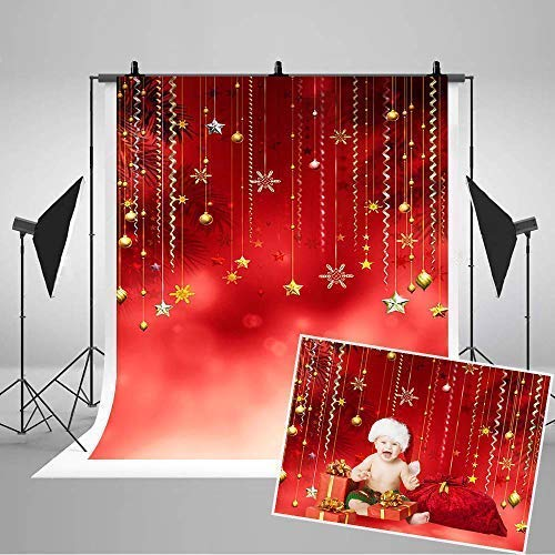 COMOPHOTO Red Christmas Photo Backdrops 5x7ft Red Star Balls Decoration Baby Photography Background for Printed Pictures (Balls Cristmas)