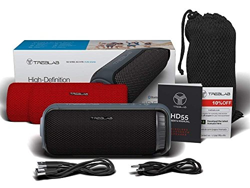TREBLAB HD55 - Deluxe Bluetooth Speaker - Impeccable 360° HD Surround Sound & Best Bass, Great For Office, Travel & Beach Parties, Waterproof IPX4, Loud 24W Stereo, Portable Wireless Blue Tooth w/Mic by Treblab (Image #6)