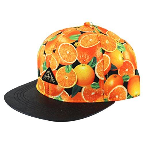 [So'each 3d Galaxy Fruits Orange Print Pu Flatbill Visor Snapback Baseball Caps Hat] (Fruit Hat Lady)