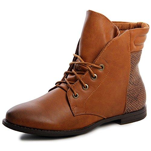 topschuhe24 592 Damen Boots Stiefeletten Schnürschuhe Camel
