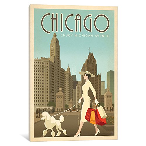 iCanvasART ADG331-1PC6-26x18 Art & Soul Of America American Cities Collection: Chicago, Illinois (Michigan Ave. Shopper) Gallery Wrapped Canvas Art Print by Anderson Design Group, 18