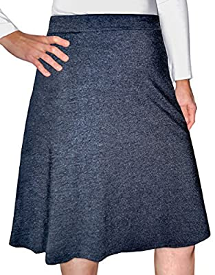 Kosher Casual Women's Modest Knee-Length A-Line Lightweight Cotton Lycra Skirt