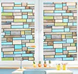 VEOLEY NO-AdhesiveWindow Film Privacy Vinyl Window Film Stained Clings Static Glass Film Anti-UV filmfor Window/Door/Office/Bathroom/Kitchen/Living Room, Brick Pattern (17.7 by 78.7Inches)