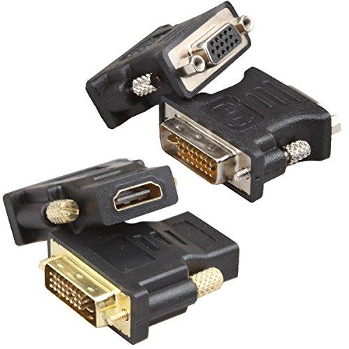 RELPER-LiNESO HDMI Female to DVI Male and DVI Male to VGA Female Adapter Kit (HDMI F to DVI M & DVI M to VGA F)