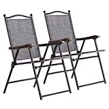 2PCS Grey Patio Folding Foldable Sling Back Lounge Chairs Durable Sturdy Steel Tubes Frame Textile Fabric Material Outdoor Garden Camping Picnic Deck Backyard Beach Pool Side Use Lightweight Design