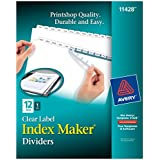 Avery Index Maker White Dividers, 12-Tab, Laser/Ink Jet, 3-Hole, Letter Size, Clear, 12 per Set (11428)