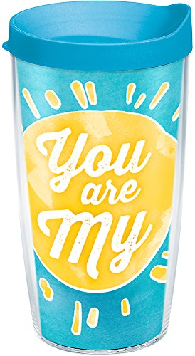 Lid Turquoise (Tervis 1229938 You Are My Sunshine Mommy Tumbler with Wrap and Turquoise Lid 16oz, Clear)