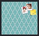 PinPix decorative pin cork bulletin board made from canvas, Quatrefoil Patterns 24 x 16 Inches (Completed Size) and framed in Satin Black (PinPix-278)