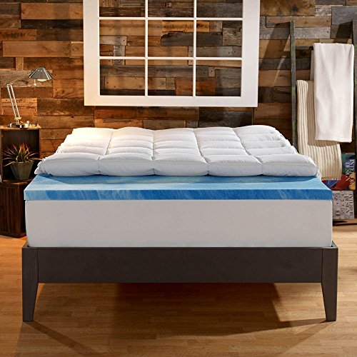 Sleep Innovations 4 in. Dual Layer Mattress Topper - Gel Memory Foam and Plush Fiber (Sleep Innovations Dual Layer 4 Inch Topper King)