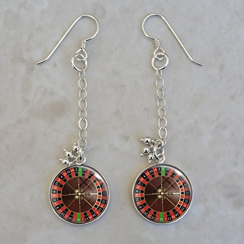 Roulette Wheel Game Gambling Betting Vice .925 Sterling Silver Earrings ()