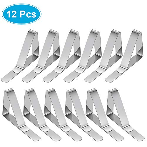 MVZAWINO 12PCS Premium Tablecloth Clips, Stainless Steel Picnic Table Clips, Table Cover Clamps Skirt Clips Picnic Tables, Outdoor, Kitchen, Camping, Wedding