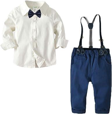 Bebé Niño Conjunto Gentleman Ropa Traje de 4 Piezas Camisa + Bowtie + Suspender + Elasticidad Pantalones: Amazon.es: Ropa y accesorios
