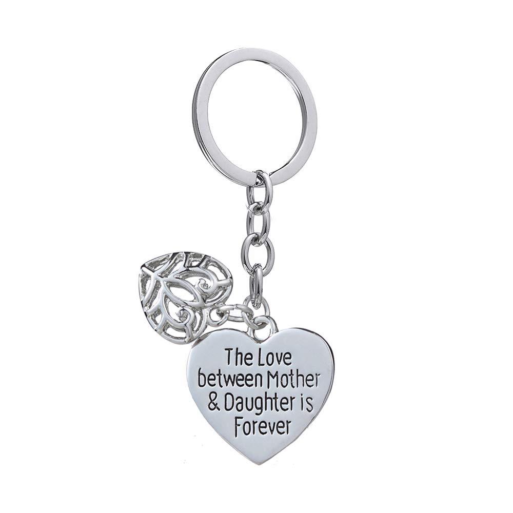 Double pendentif M/ère journ/ée Cadeau Amour entre M/ère Fille Est Pour toujours Double C/œur Porte-cl/és Bague pour Famille femmes
