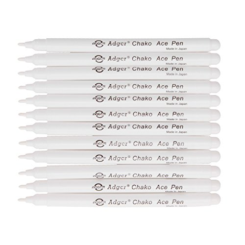 (Air Erasable Fabric Marking Pen Disappearing Ink Makring Pen Fabric Marker Water Soluble Ink for Embroidery Cross Stitch Handicarft Needlework Quilting Tracing and Stitching, White Ink, Pack of 12)