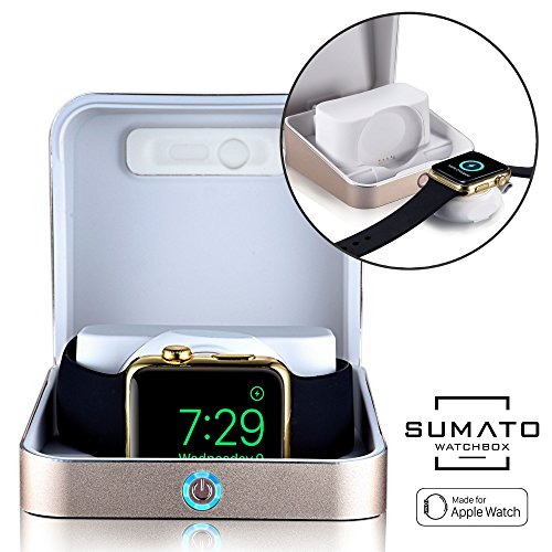 5-in-1 Apple Watch charger - [NEW] SUMATO WATCHBOX Charging Station for Apple Watch Band 42mm 38mm + 5000mAh Power Bank, Charging cable, Keychain Travel Charger, Apple Watch Series 2 3 1 (Gold)