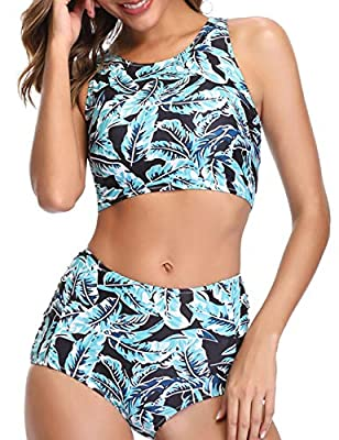 Jolefille High Waisted Swimsuit Women Retro Bathing Suit Tummy Control Swimwear Two Pieces Bikini Set
