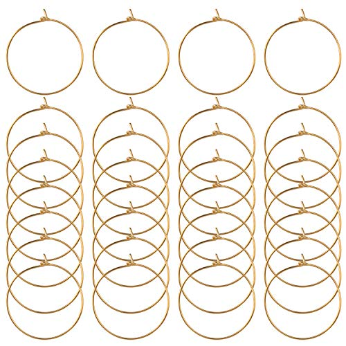 BronaGrand 100 Pieces Gold Wine Glass Charm Rings Earring Hoops 25mm