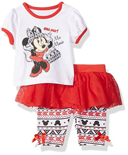 Disney Baby-Girls Newborn Minnie Mouse 2 Piece Skegging Set, Chinese Red, 6-9 Months (Chinese Set 8 Pieces)
