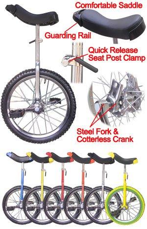 18 inch Wheel Unicycle Chrome