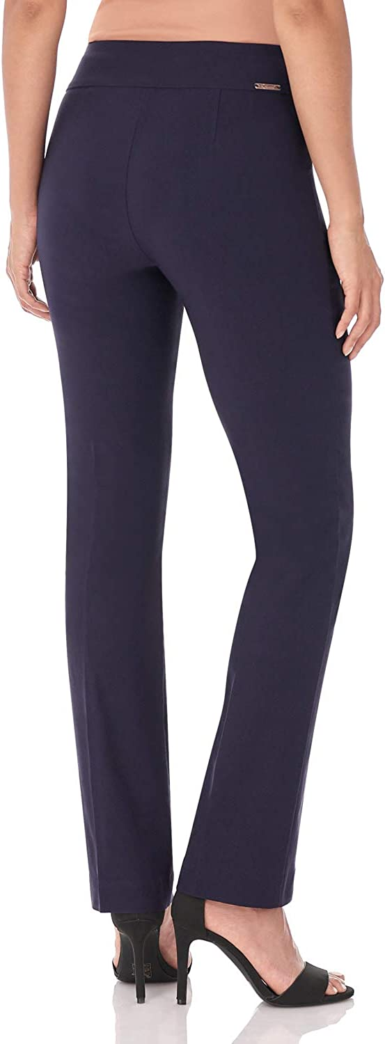12,Navy Rekucci Womens Ease Into Comfort Straight Leg Pant with Tummy Control