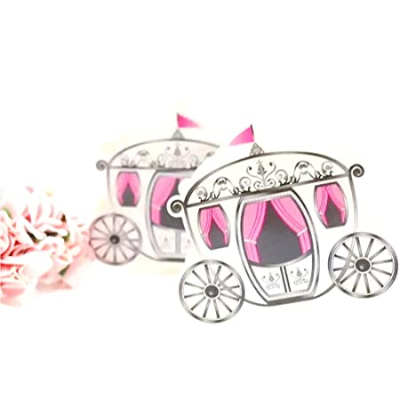 JZK 50 Princess Cinderella Carriage Wedding Favour Box Girl Sweet Box for  Wedding Birthday Baby Shower Christening Communion Graduation Christmas  ... c84645e3f