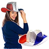 Toy Cubby Flashing 4th of July Patriotic American Sequin Cowboy Hat - 2 pieces