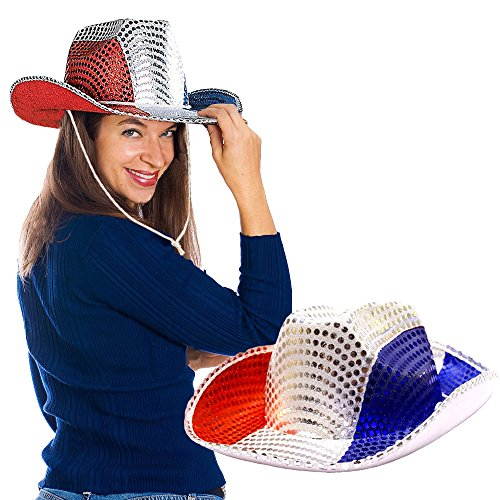 [Toy Cubby Flashing 4th of July Patriotic American Sequin Cowboy Hat] (Child Red Cowboy Hat)