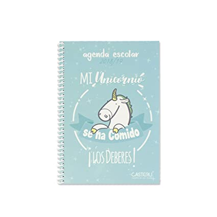 Casterli - Colección Inspire - Agenda Escolar 2018/19, día página, tamaño A5 - UNICORNIO