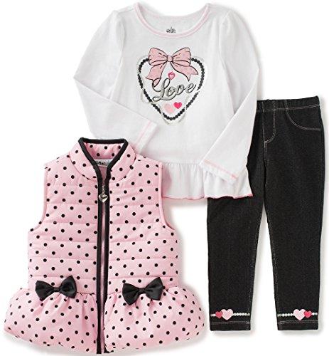 Kids Headquarters Baby Girls 3 Pieces Puffer Vest Set - Polca Dots
