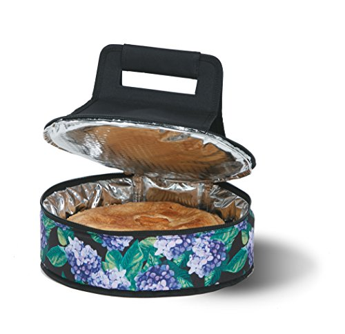 Cake 'N Carry - Hydrangea - Round Thermal Insulated Pie or Cake Carrier Holds Up To a 12 Inch Dish