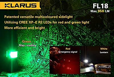 Klarus FL18-XML2-BK Cree U2 LED Flashlight with Red/Green/White LEDs Side Light Includes 18650 Battery and USB Charging Cable, Black by Light Junction