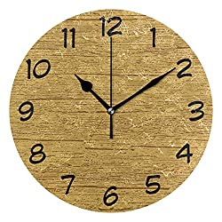 DJROW Golden Oak Pattern Wall Clock Office Kitchen Bedroom Living Room Decor 9 Inch,Indoor Modern Simple Oil Painting Acrylic Round Battery Operated Clocks