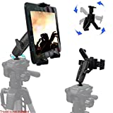 Universal HDX Tablet Camera Video Record Periscope Tripod Holder Mount with Dual 360° Swivel Adjust Joint for 7-12-inch Tablets like Apple iPad Pro Air Mini, Galaxy Tab S E A & Surface Pro Slate