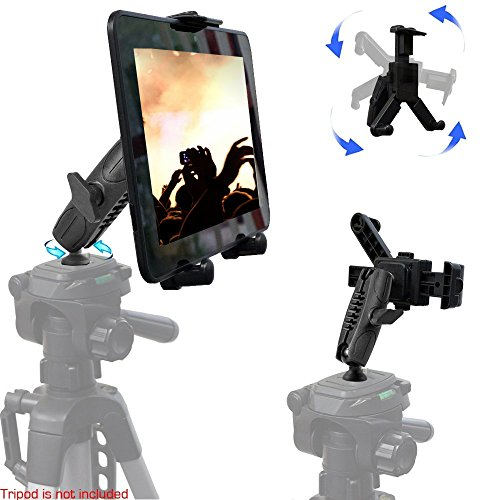 Joint 12 Swing - Universal HDX Tablet Camera Video Record Periscope Tripod Holder Mount with Dual 360° Swivel Adjust Joint for 7-12-inch Tablets like Apple iPad Pro Air Mini, Galaxy Tab S E A & Surface Pro Slate