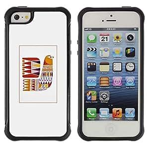 WAWU Funda Carcasa Bumper con Absorci??e Impactos y Anti-Ara??s Espalda Slim Rugged Armor -- bird quilt grey pattern sewing -- Apple Iphone 5 / 5S