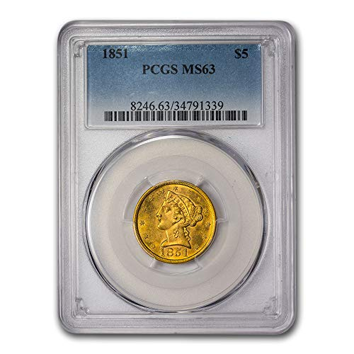 1851 $5 Liberty Gold Half Eagle MS-63 PCGS G$5 MS-63 PCGS