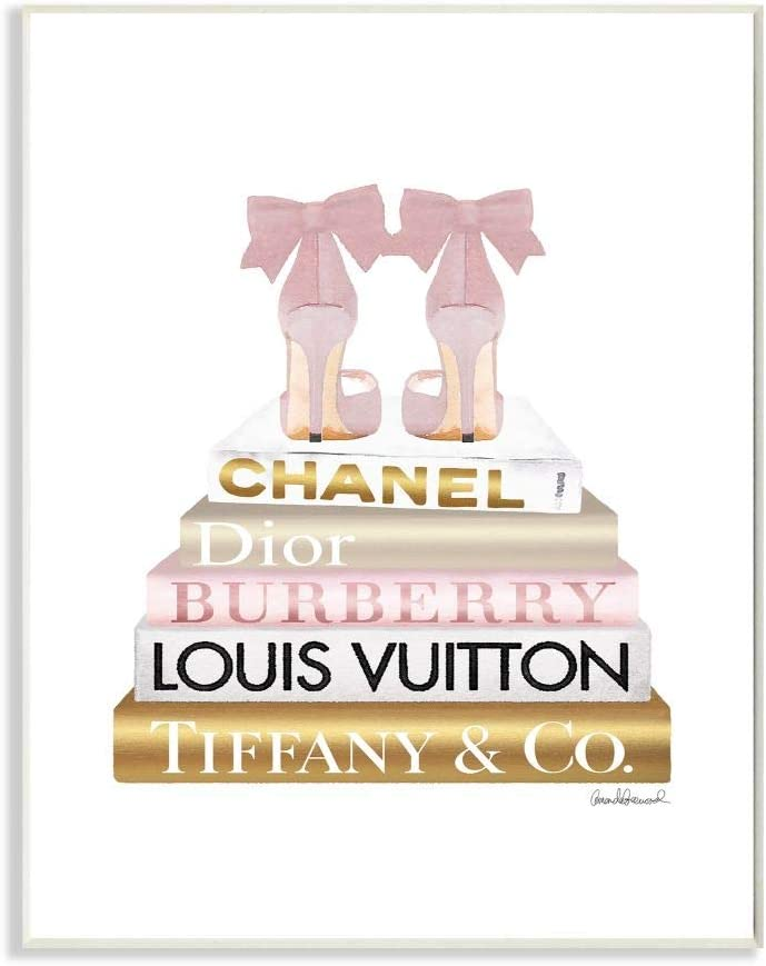 Stupell Industries Pink Gold Heels Bookstack Glam Fashion Design, Designed by Amanda Greenwood Art, 10 x 0.5 x 15, Wall Plaque