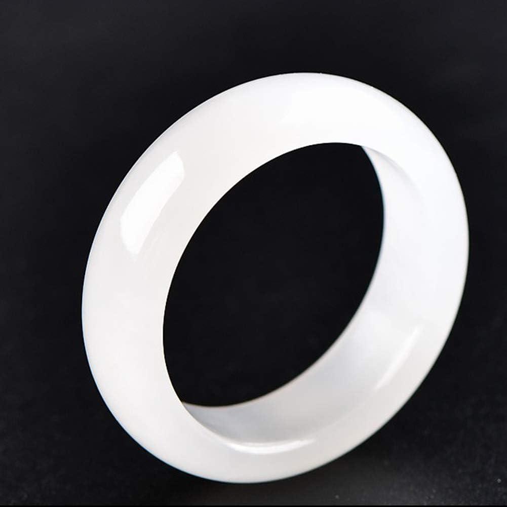 Anillo de Banda de Jade de Hielo Blanco Chino Natural de 20 mm para Unisex para Regalo clásico Elegante de Unisex Anillo de Jade de Piedras Preciosas de jadeíta