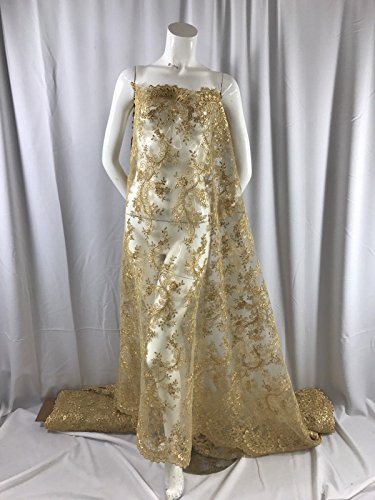 (Gold Flowers Corded Design-embroider With Sequins On A Mesh Lace Fabric-by Yard.)