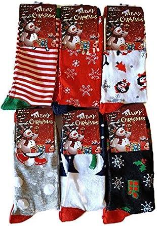 LADIES CHRISTMAS SPECIAL SANTA SOCKS NOVELTY Size UK 4-7   6 PAIRS