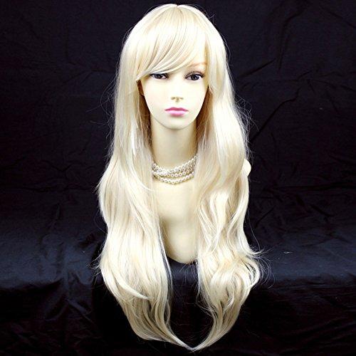 Stunning Heat Resistant XXX Long Wavy Pale Blonde Ladies Wigs Skin top (Skin Top Wigs)