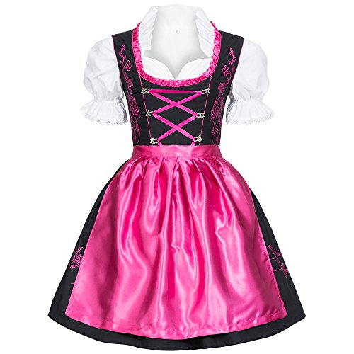 0960ee4997ca Gaudi-leathers Women s Set-3 Dirndl Pieces Embroidery 42 Pink Black