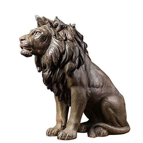 装飾材料 ライオンの彫刻の装飾の飾りアメリカのレトロルームの工芸品フロアの装飾の家の贈り物 (Color : Beige Size : 54*22*50cm)