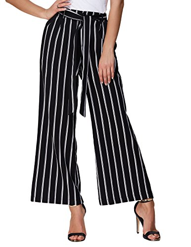 Side Button Pant Suit (GRACE KARIN Women's Striped High Waist Loose Wide Leg Palazzo Pants Size S Black)