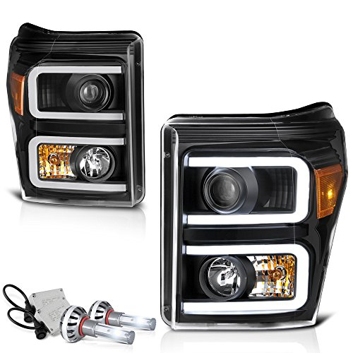 [Built-In CSP LED Low Beam] VIPMOTOZ Neon Tube Projector Headlight Assembly For 2011-2016 Ford Superduty F-250 F-350 F-450 Pickup Truck - Matte Black Housing, Driver and Passenger Side
